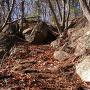 主郭を立ち塞ぐ巨岩