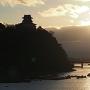 天守遠景、夕刻の犬山橋から