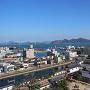 天守より今治港・来島海峡大橋を望む