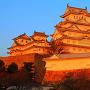 夕日を浴びる天守と渡櫓(1)