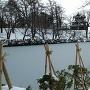 薄雪の水堀と雪囲いと三重櫓と(2019冬、雪化粧)