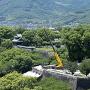 飯田丸五階櫓台の埋没石垣(市役所14階から)