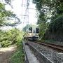 土塁断面と電鉄飯田線