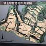 城主居館跡地形測量図の案内板