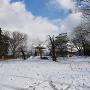 月岡神社側から見る冬の模擬天守