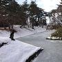 凍った内堀(杉の大橋から未申櫓方面)