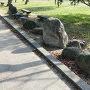城跡公園にある発掘された石垣の石