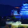 ブルー・ライトアップ天守を三木美術館さんの屋上から