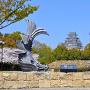 城見台公園の鯱と姫路城(改修前)[提供:姫路市]