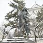 氏鉄公と天守 雪の情景