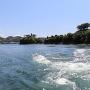 急流越しに本丸から鯛崎島