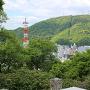 本丸跡から見る眉山の風景