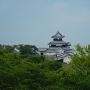 白河駅ホームから三重櫓を望む(ズーム撮影)