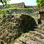 大洲城 二の丸から苧綿櫓途中にある石段と石垣