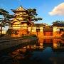 高松城 夕暮れの月見櫓と水手門