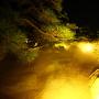 高松城 夜の庭園ミストシャワー