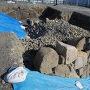 発掘現場 石垣の構造