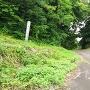 城跡への登城口(左)と弁財天宮への入口(右)
