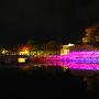 レインボーライトアップ石垣と櫻門橋
