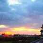夕陽と坤櫓