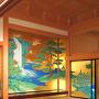 本丸御殿 若松之間 復元障壁画と折上げ格天井