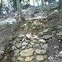二の丸から登った本丸下帯曲輪で発掘された石垣