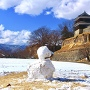 上田城 尼ヶ淵と雪だるま2