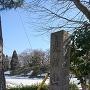 凍結したお堀と城趾碑