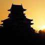 犬山城と日の出