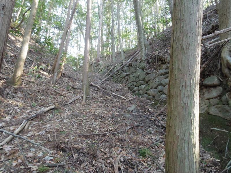 主郭下側の堀切石積み